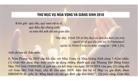 THƯ MỤC VỤ MÙA VỌNG VÀ MÙA GIÁNG SINH 2018