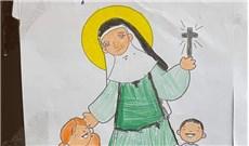 Thiếu nhi tô màu và cầu nguyện cho các nữ tu nhiễm Covid-19