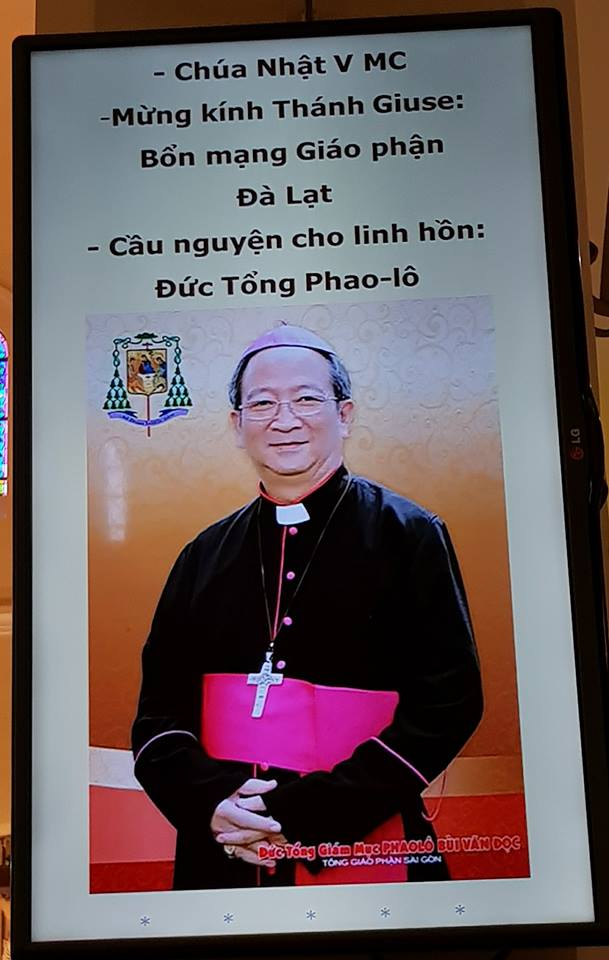 Giáo phận Đà Lạt : cầu nguyện cho Đức cố TGM Phaolô Bùi Văn Đọc